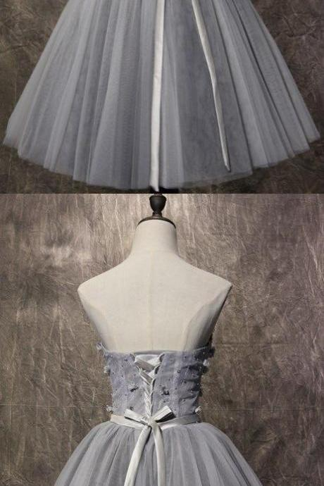New Arrival Gray Tulle Short Homecoming Dress , Custom Made A Line Prom Dress, Mini Cocktail Gowns 2019