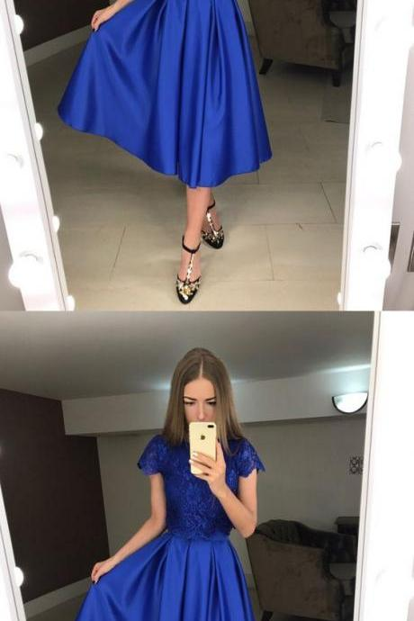 New Arrival Royal Blue Lace Tea Length Prom Dress With Caped Sleeve 2019 Cheap Homecoming Party Gowns