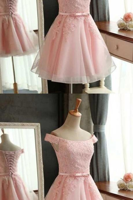 New Arrival Pink Tulle Lace Short Homecoming Dress Crew-Neck Appliqued Mini Prom Party Gowns ,Short Cocktail Dress