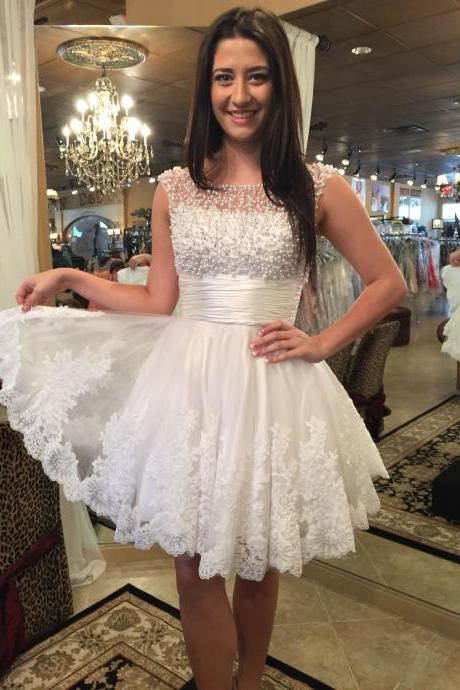 Elegant White Tulle Pearls Short Homecoming Dress A Line Cheap Scoop Mini Cocktail Party Dresses Custom Made Graduation Dress