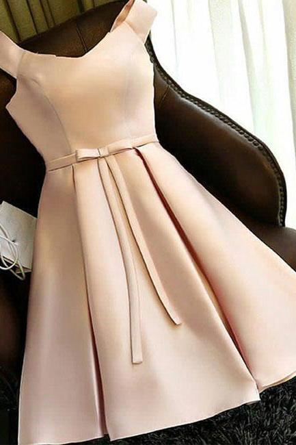 Simple Light Champagne Satin Short Homecoming Dress Above Length Mini Party Dress With Bow ,Short Cocktail Dress For Junior
