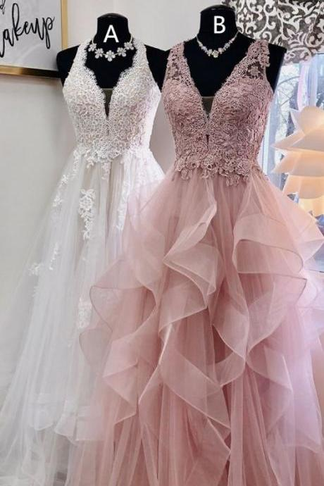 Elegant A Line White Tulle Lace Prom Dresses Floor Length Appliqued Women Evening Party Gowns ,Custom Made Evening Gowns