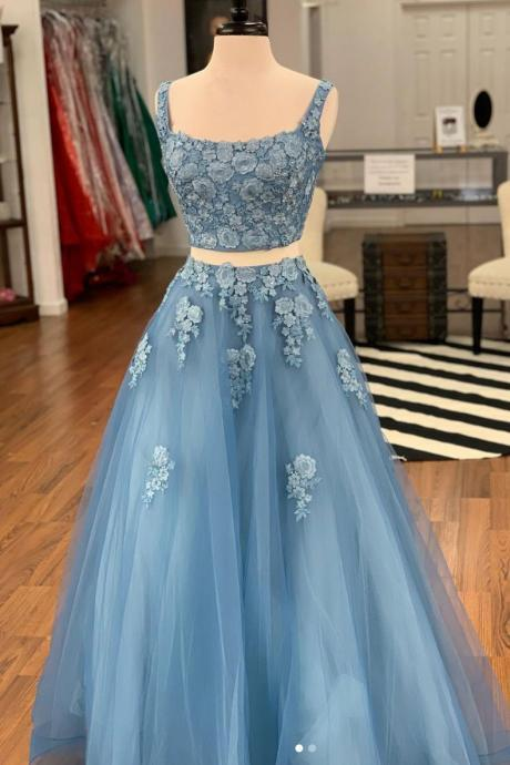 New Arrival Two Pieces Lace Long Prom Dresses Custom Made Women Party Gowns , A Line Long Pageant Gowns