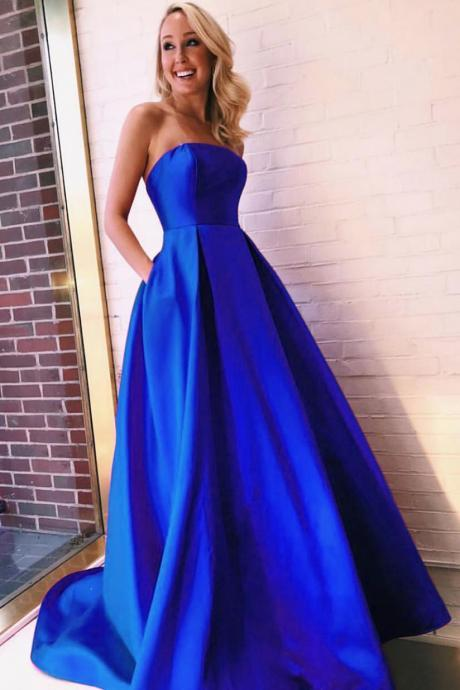 Off Shoulder Royal Blue Satin Prom Dress A Line Prom Party Gowns Plus Size Evening Dress