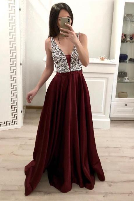 A Line Women Prom Dresses Burgundy Beaded Long Prom Gowns ,Sexy Beaded Formal Evening Dress