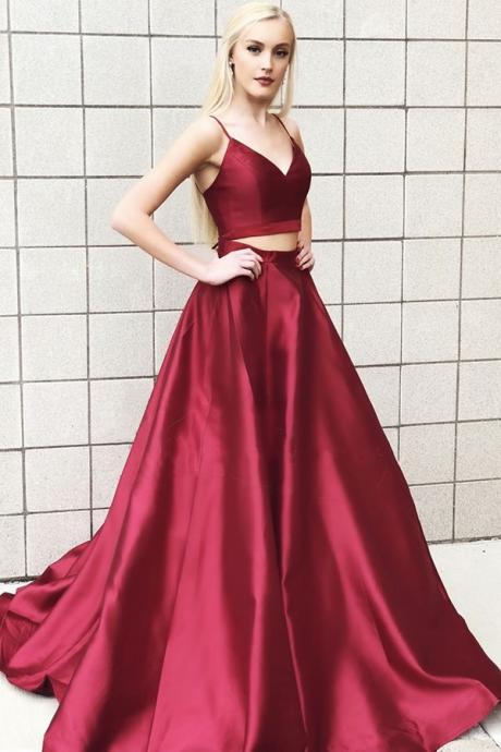 Sexy Two Pieces Ball Gown Burgundy Satin Long Prom Dress, 2 Pieces Homecoming Dress, Prom Gowns 2019