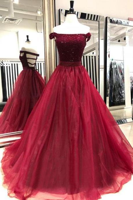 Luxury Beaded Crystal Burgundy Organza Long Prom Dresses Sexy Backless Prom Party Gowns ,A Line Prom Dresses