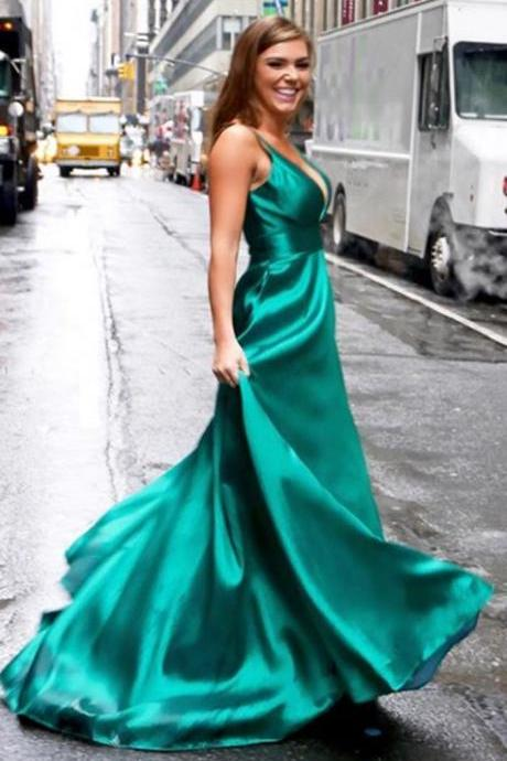 New Arrival V-Neck Long Prom Dress Green Satin A Line Prom Gowns ,Custom Made Women Party Dress .Long Pageant Gowns
