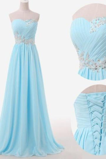 Fashion A Line Light Blue Chiffon Ruffle Long Prom Dresses Off Shoulder Summer Prom Gowns Custom Made Prom Party Gowns With Lace