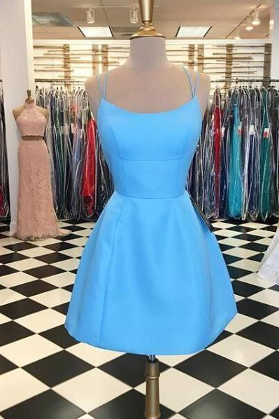 Sexy Backless Short Homecoming Dress . Custom Made Short Cocktail Party Dress, Blue Graduation Gowns