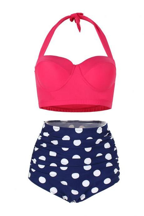 Fashion Two Pieces Women Swimsuits ,High Waist Bikini , Beach Girls Bikini With Polka Dots
