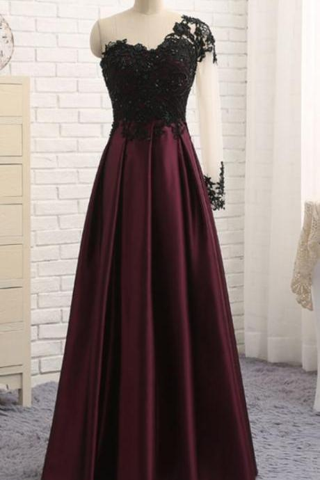 Sexy A Line Burgundy Satin Long Prom Dresses With One Shoulder Long Sleeve ,Cheap Formal Evening Dress
