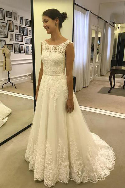 Elegant Scoop Neck White Tulle Lace China Wedding Dresses With Lace Appliqued A Line Women Bridal Party Gowns ,Women Bridal Gowns