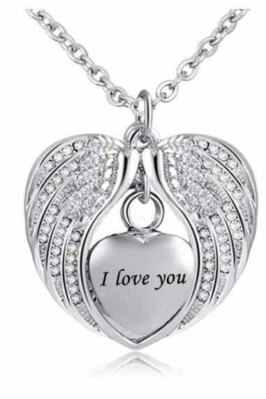 Cremation Urn Necklace for Ashes Angel Wing Jewelry Heart Memorial Pendant and 12 colors Birthstones Necklace - I Love You