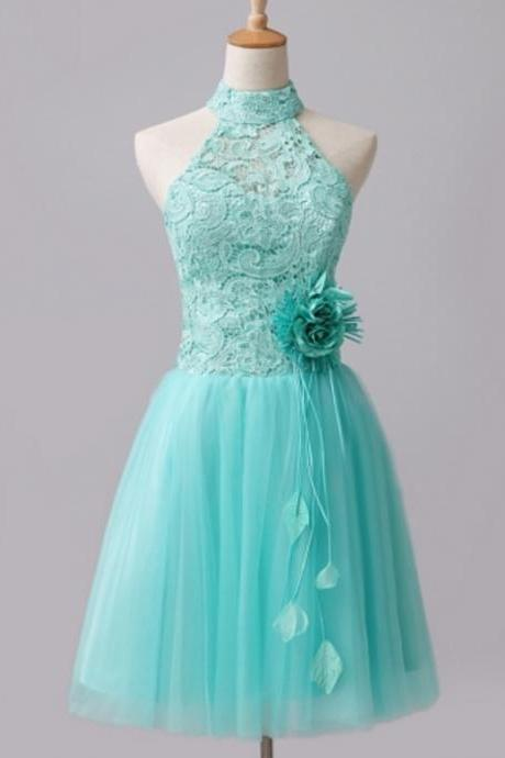 Mint Green Tulle Lace High Neck Short Homecoming Dress A Line Strapless Short Cocktail Party Gowns 2020