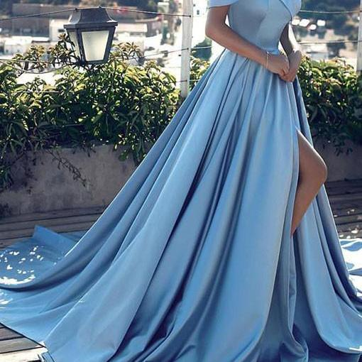 Custom Made Sky Blue Off Shoulder Satin Ruffle Ball Gown with High Split