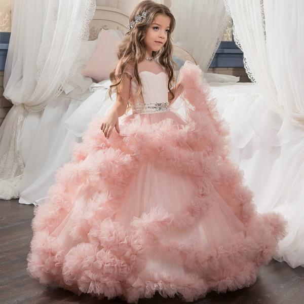 2018 Fluffy Flower Girl Dress with Flowers Lace Wedding Flowers Girls Gowns ,Pricess Child Gowns , Wedding Kids Gowns ,Custom Made Flower Girls Gowns .Beauty Skirts Gowns ,