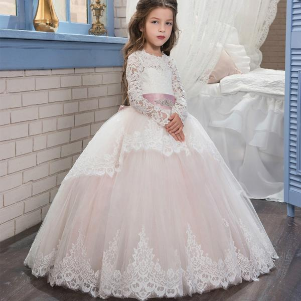 2018 New Arrival Full Long Lace Flower Girls Dresses,Wedding Flower Gowns , Lace Child Gowns .Pricess Childen Gowns .Girls Pageant Gowns .Wedding Kids Gowns .