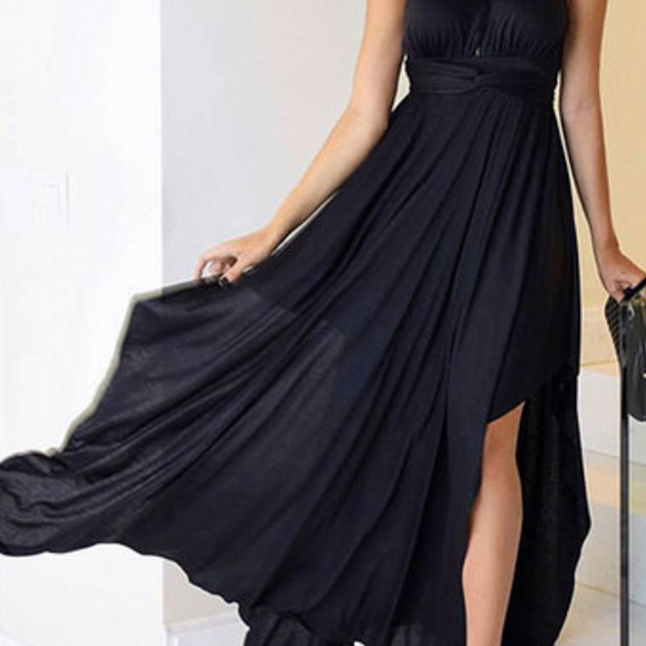 Black Chiffon One Shoulder Prom Dresses A-line Long Cheap Evening Formal Dress High Slit Sexy Party Dresses for Women,Girls Pageant Dresses