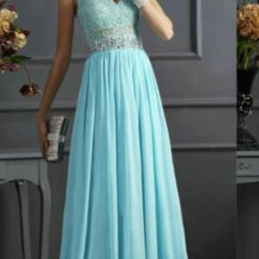 Cheap Blue Prom Dress, A-Line Prom Dresses, Applique Prom Dress, Chiffon Prom Dress, Elegant Prom Dress, Floor-Length Prom Dress, Blue Evening Dress