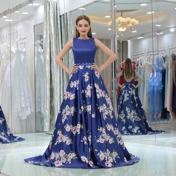 Royal Blue Prom Dress Strapless Floral Flowers Formal Prom Gowns Sexy Back Open Evening Gowns , Custom Made Cheap Prom Gowns
