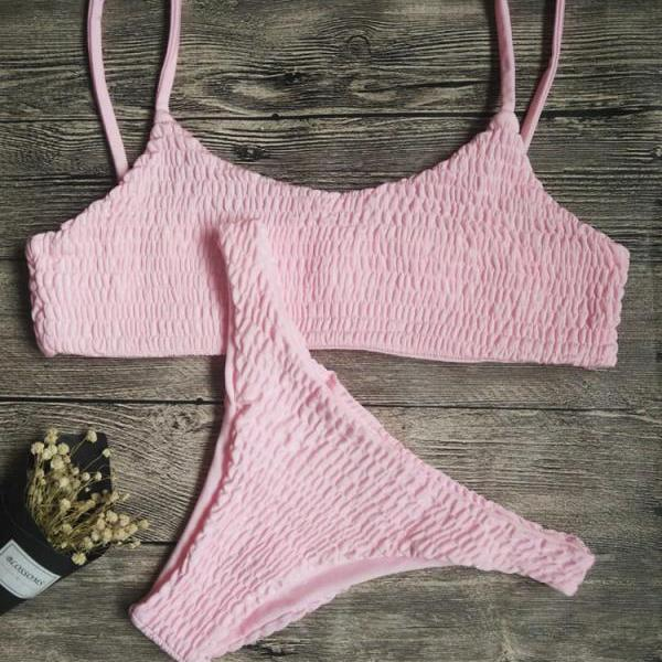 Pink Fashion Swimsuits,Two Pieces Cheap Swimwear,Sexy Lady Swimsuits