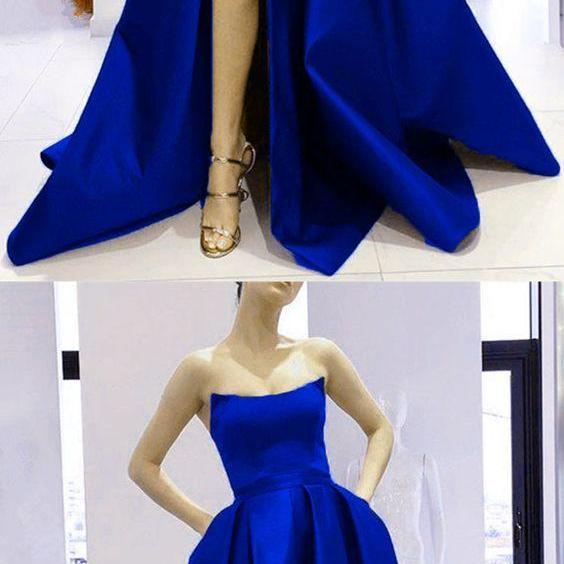 New Arrival A Line Hight Slit Formal Evening Dress, Off shoulder Prom Gowns ,Plus Size Royal Blue Prom Dresses