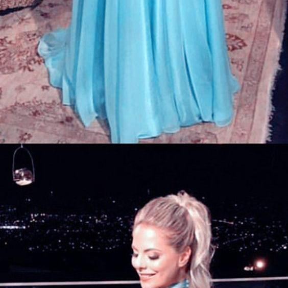 Sexy Backless Turquoise Chiffon Halter Prom Dress A Line Prom Gowns Custom Made Women Evening Party Gowns