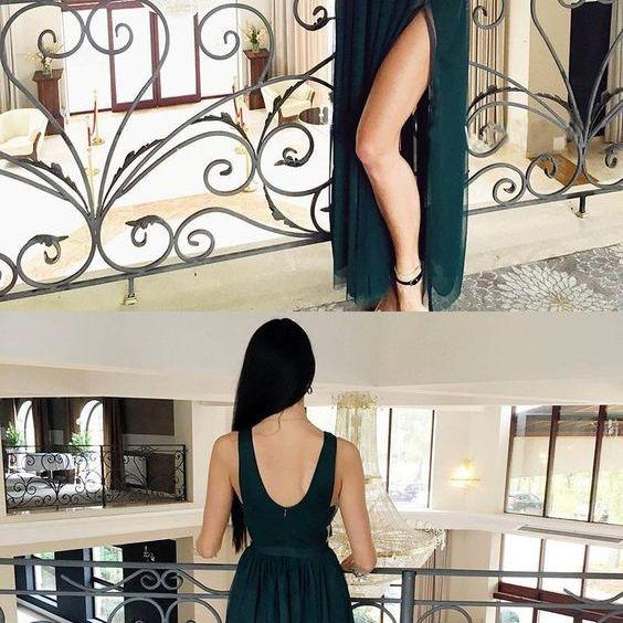 Cheap Dark Green Tulle Prom Dress ,Sexy V-Neck Prom Gowns ,Sexy Backless Formal Evening Dress