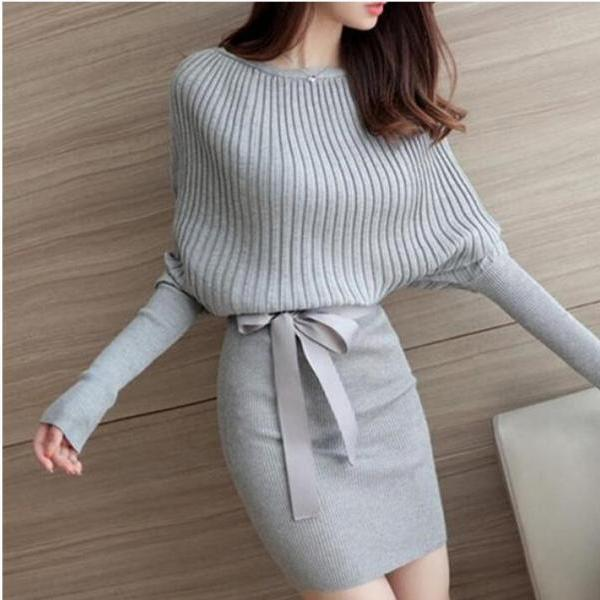 New Arrival Gray Women Winter Autumn Sweather Long Sleeve Sweater Sheath Pullover Knit Sweater,Boycon Sweater