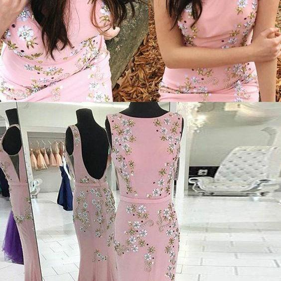 New Arrival Pink Mermaid Prom Dress, Sexy Appliqued Long Prom Gowns ,Mermaid Evening Dress, Custom Made Prom Party Gowns