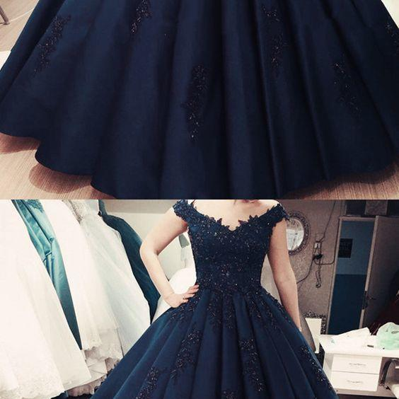 Elegant Navy Blue Lace Ball Gowns Quinceanera Dresses Custom Made Women Party Gowns ,Long Pageant Gowns .