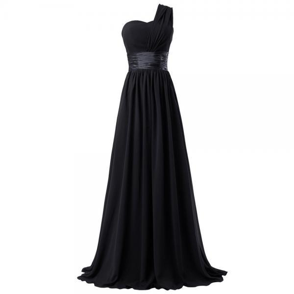 Sexy A Line Black Chiffon Ruffle Long Prom Dresses One Shoulder Women Party Gowns ,Cheap Bridesmaid Dress