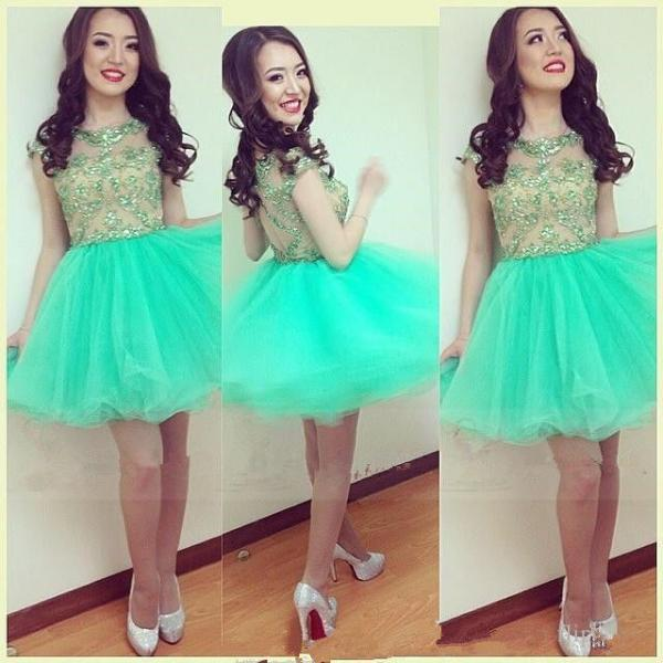 New Arrival Green Lace Beaded Tulle Homecoming Dress Short Women Party Gowns Jinior Party Dress, Short Cocktail Gowns