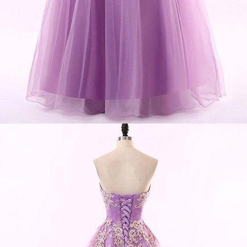 Off Shoulder Sexy Purple Tulle Lace Appliqued Long Prom Dress With Beaded Custom Made Quinceanera Dress, Plus Size Sweet 15 Quinceanera Gowns