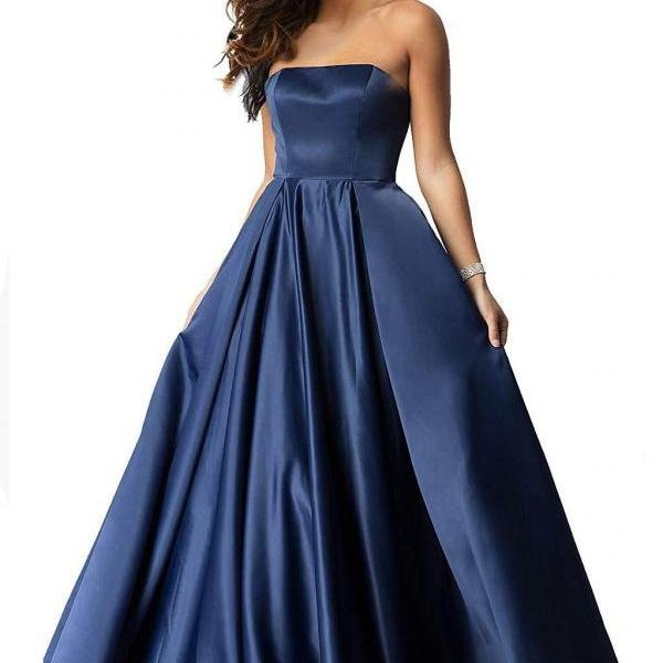 Navy Blue Satin Long Prom Dresses Custom Made Women Party Gowns ,Sexy Women Party Dresses, Evening Dress