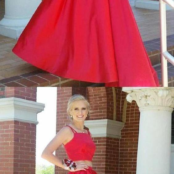 Two Pieces Red Satin Prom Dress A Line Women Pageant Gowns Plus Size Evening Dress